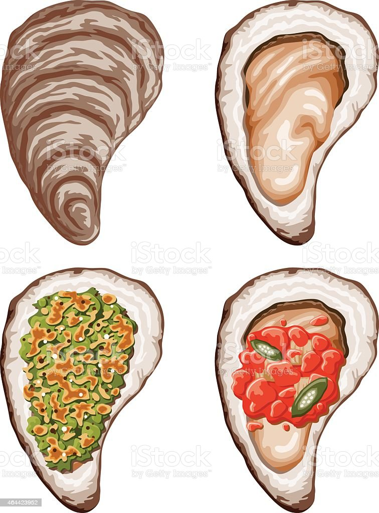Oysters In The Half Shell Icon Set vector art illustration