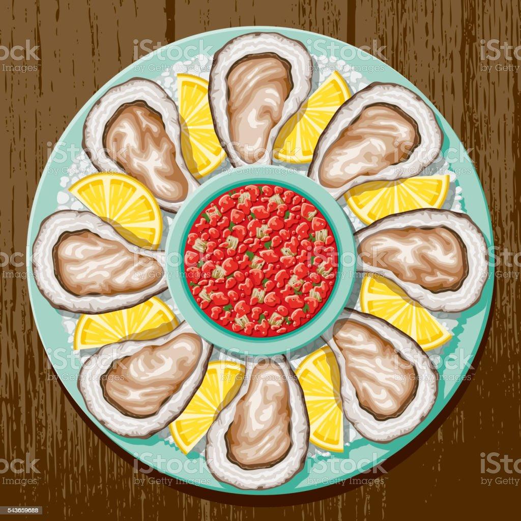 Oysters In The Half Shell Overhead Platter vector art illustration