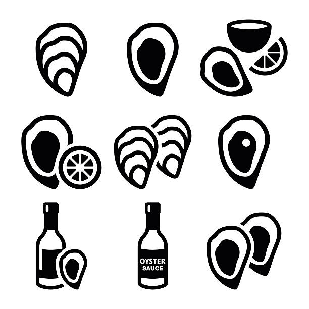 Oysters shell, sauce - sea food icons set vector art illustration