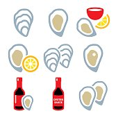 Vector icons set of oysters isolated on white