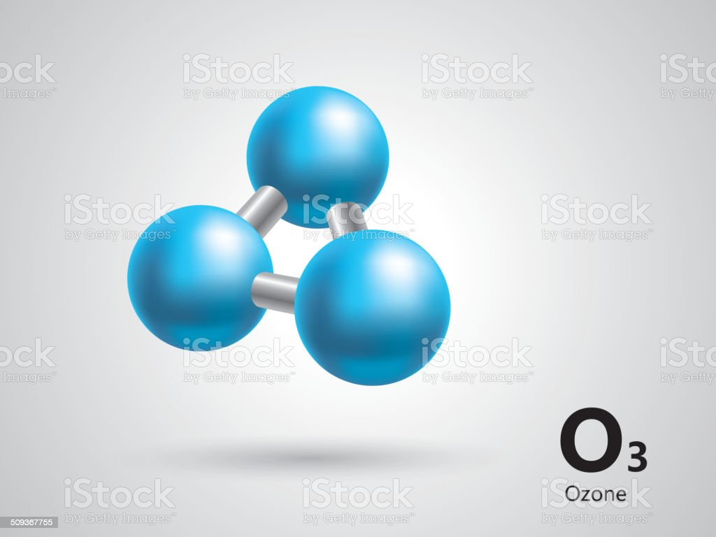 Ozone molecular model vector art illustration