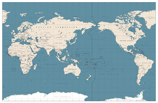 Pacific Centered World Map Vintage Color