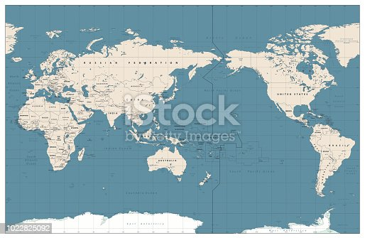 Pacific Centered World Map Vintage Color. Countries and capitals, cities, borders and water objects, state outline. Detailed World Map vector illustration.