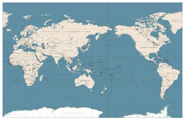ilustrações de stock, clip art, desenhos animados e ícones de pacific centered world map vintage color - oceano pacífico