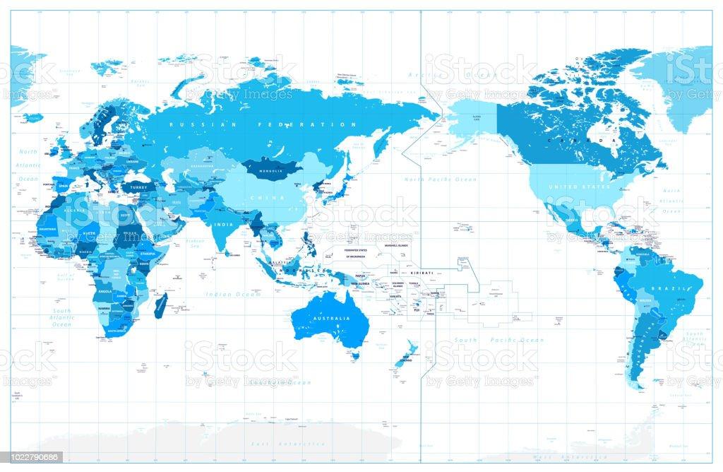 Ilustracion De Pacifico Centrado En Mapa Del Mundo En Colores De Azul Y Mas Vectores Libres De Derechos De Alto Posicion Descriptiva Istock