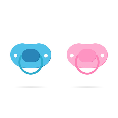 Pacifier baby icon with shadow