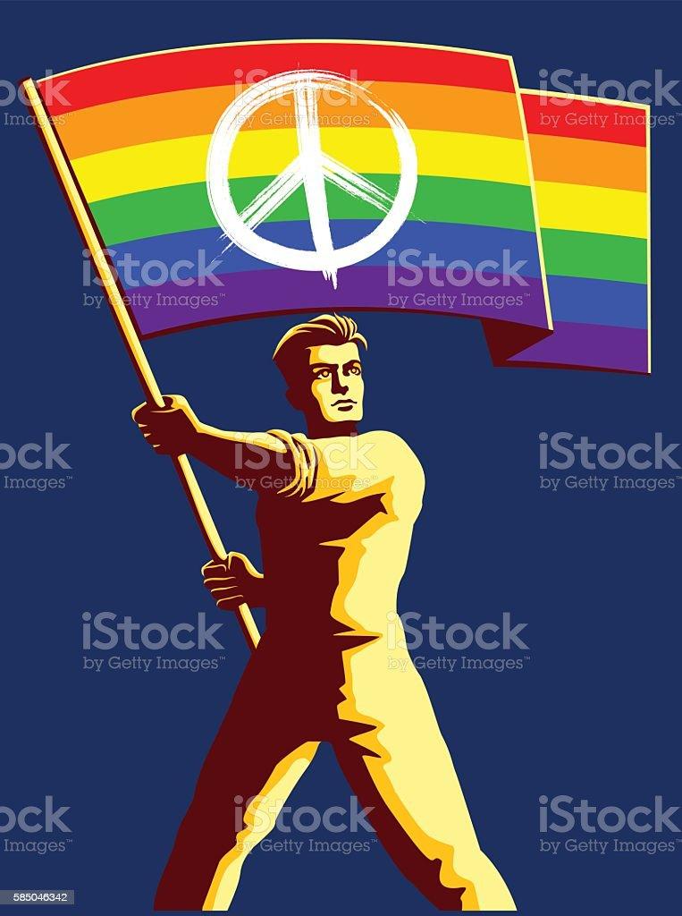 Pacifist man holding rainbow flag with peace sign vector illustration vector art illustration