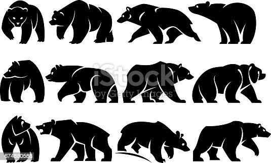 Twelve separate walking figures of bears. Black silhouette. Isolated on a white background