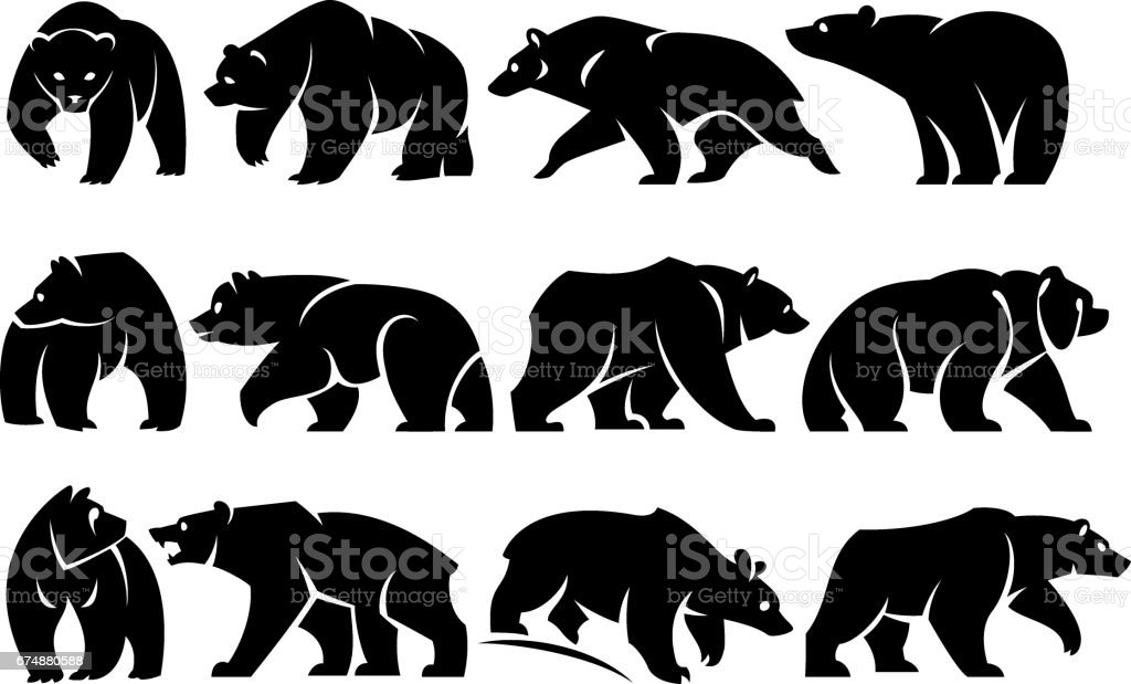 Pack bears vector art illustration