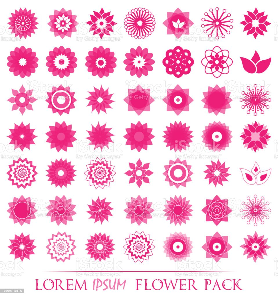 Pack Of 49 Transparent Light Pink Abstract Geometric Flowers Symbol