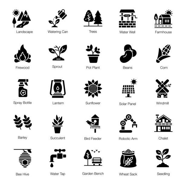 bildbanksillustrationer, clip art samt tecknat material och ikoner med förpackning av jordbruk solida ikoner - solar panel
