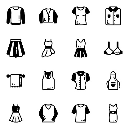 Pack of Apparels Glyph Icons