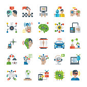Pack Of Artificial Intelligence Flat Icons