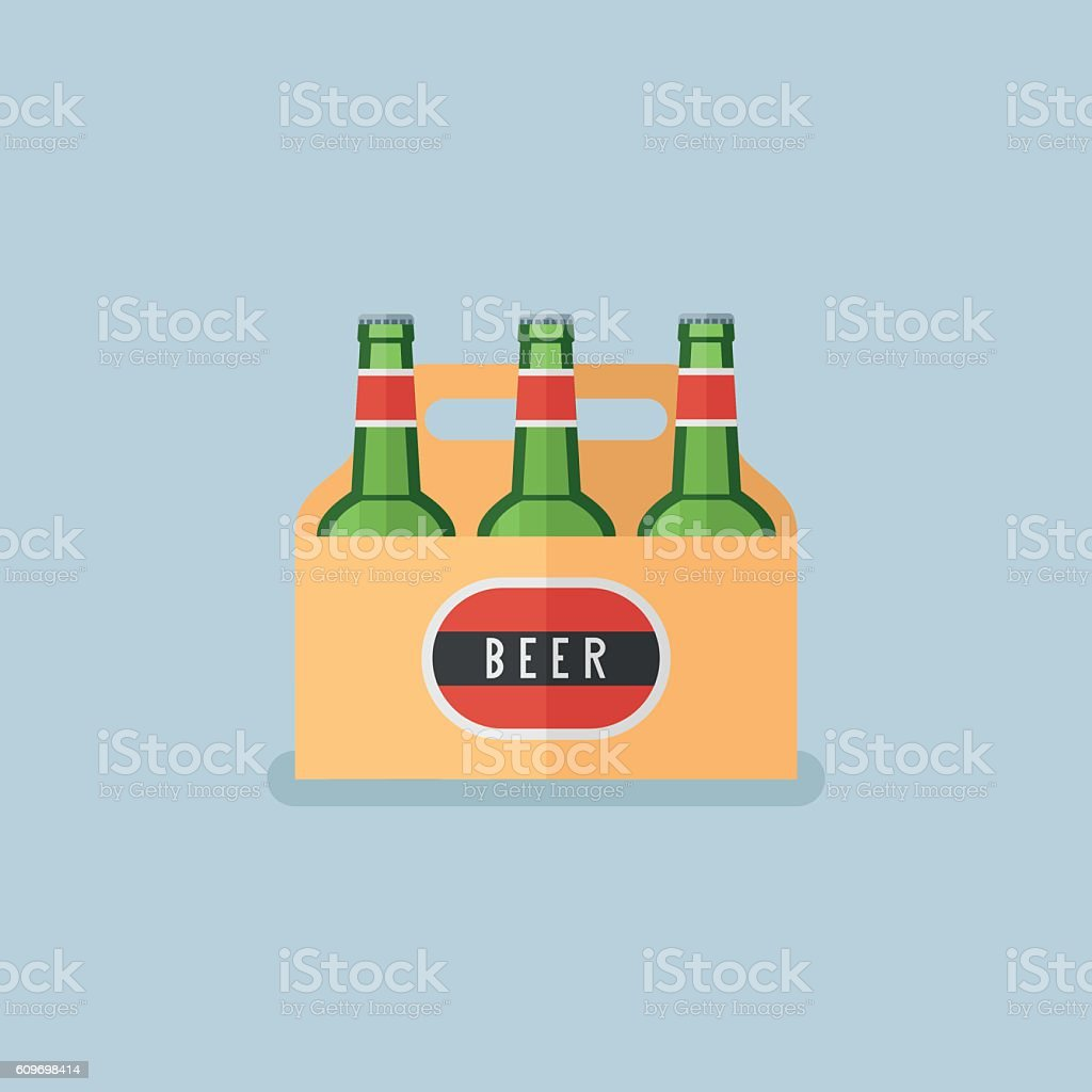 Pack of beer bottles flat style icon pack of beer bottles flat style icon vecteurs libres de droits et plus d'images vectorielles de alcool libre de droits