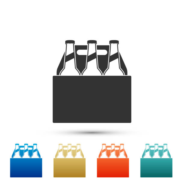 Pack of beer bottles icon isolated on white background. Case crate beer box sign. Set elements in color icons. Vector Illustration vector art illustration