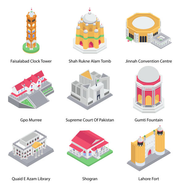 pack of buildings isometric icons - supreme court stock illustrations
