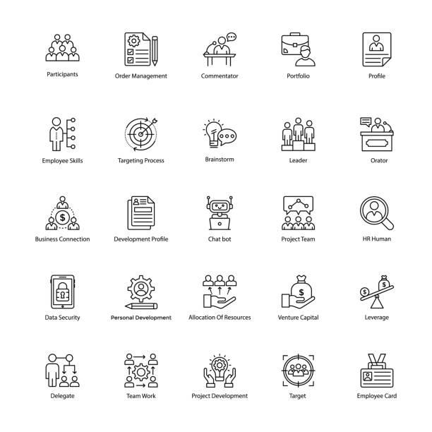illustrazioni stock, clip art, cartoni animati e icone di tendenza di pack of business management line icons - focus group