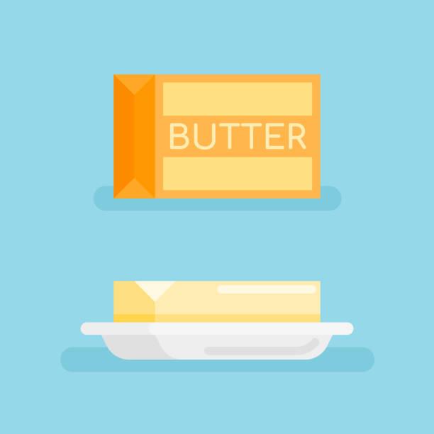 ilustrações de stock, clip art, desenhos animados e ícones de pack of butter and butter on saucer flat style icon. - manteiga