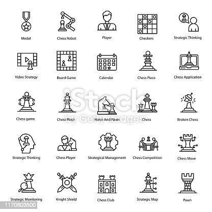 istock Pack of Chess Line Icon 1170803500