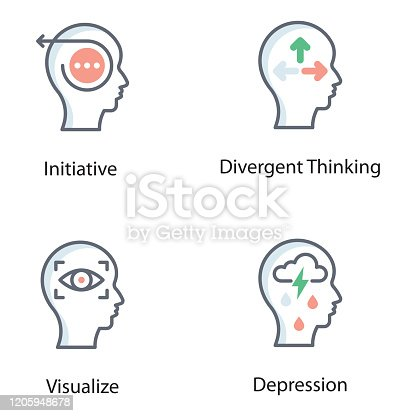 A creative set of strategic, thinking, cognitive and practical process designs. Design thinking flat icons set available for download.