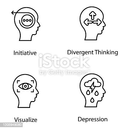 A creative set of strategic, thinking, cognitive and practical process designs. Design thinking line icons set available for download.