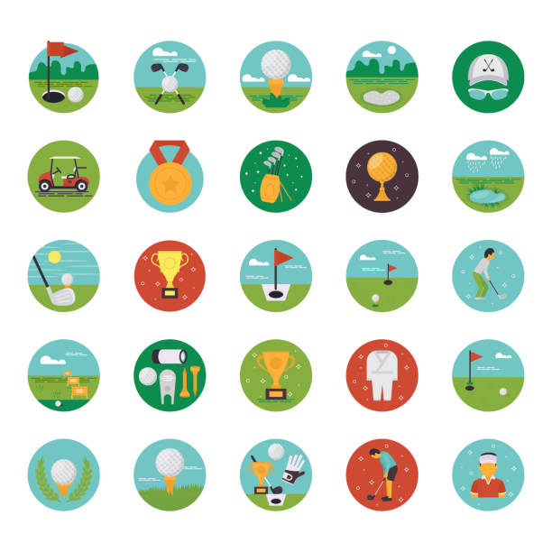 A pack of country sport club flat icons demonstrating golf course equipment and captivating visuals. Here is a pack of country sport club flat icons demonstrating golf course equipment and captivating visuals. Select and download it! golf icon stock illustrations