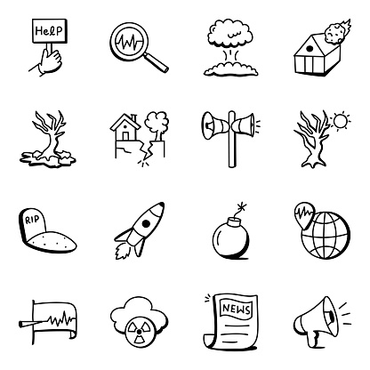 Pack of Earthquake and Disaster Doodle Icons