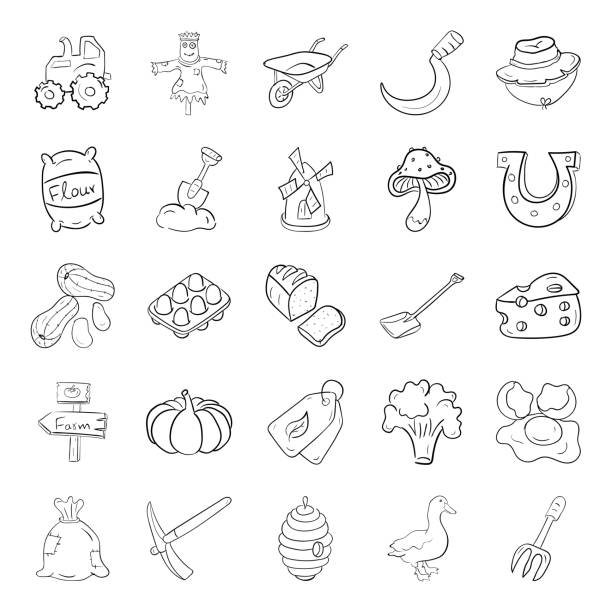 Pack Of Farming Doodle Icons We bring you this amazing animals and farms icons pack. Agriculture vectors are creatively designed in line style. Download this icons set for biomass, biodiversity and other related projects. mattock stock illustrations