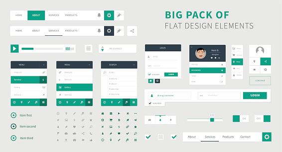 Pack of Flat design ui kit vector for webdesign