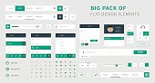 Style flat ui kit design set for web design. Flat icons with menu, search bar and social bar.