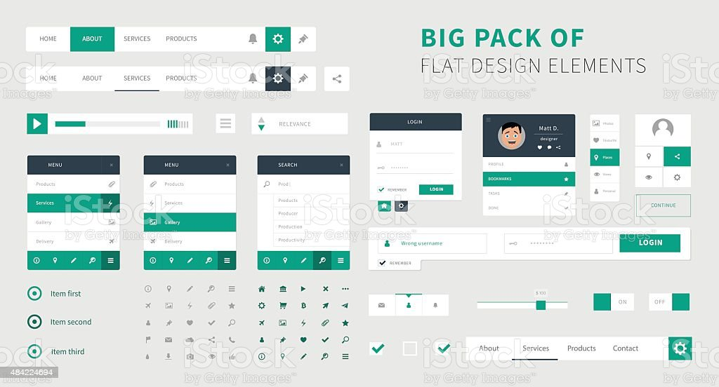 Pack of Flat design ui kit vector for webdesign vector art illustration