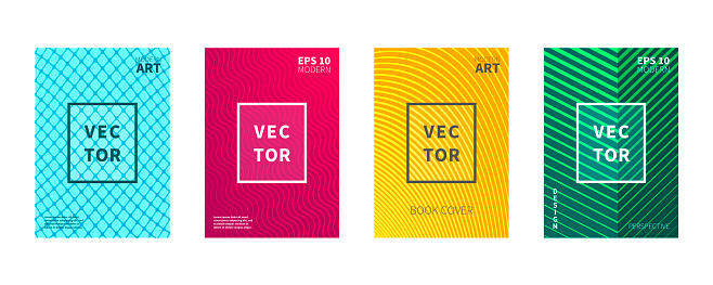 Pack of four modern and geometric design vectors, wavy lines, perspective lines, curved lines, padded squares, special for book covers, annual company reports, comics, posters and magazines. Colors:Red-Pink-Coral, Blue-Turquoise, Yellow-Orange, Green-Lime