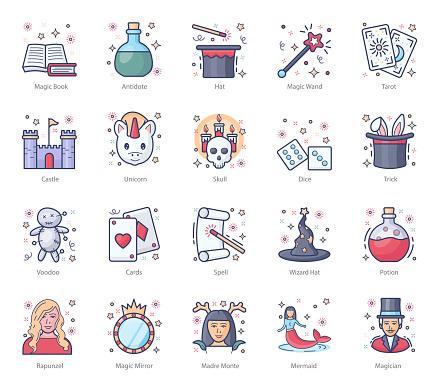 Pack Of Magic flat Icons