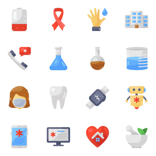 pack of medical flat icons - covid testing stock illustrations