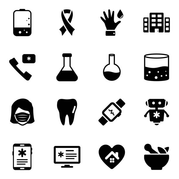 pack of medical solid icons - covid testing stock illustrations