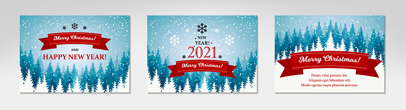 Pack of Merry Christmas and Happy New Year horizontal greeting cards with beautiful winter scenery. Blue Christmas tree landscape with snow. Vector illustration with hand drawn elements