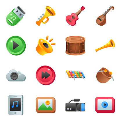 Pack of Music Instruments Flat Icons