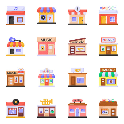 Pack of Music Shops Flat Icons
