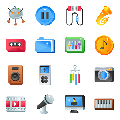 Pack of Music Tools Flat Icons