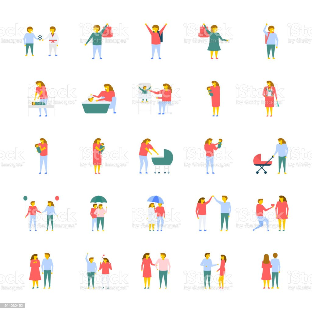 A Pack Of People Flat Vector Icons vector art illustration