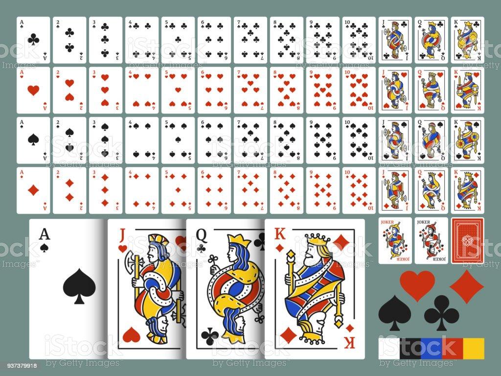 Pacote de cartas de baralho para poker. Original completo baralho de cartas no estilo de arte moderna linha. Baralho de 54 cartas. Conjunto de vetores. - ilustração de arte em vetor