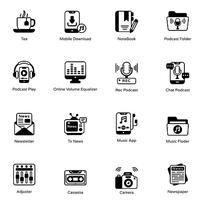 Pack of Podcast Apps Glyph Icons