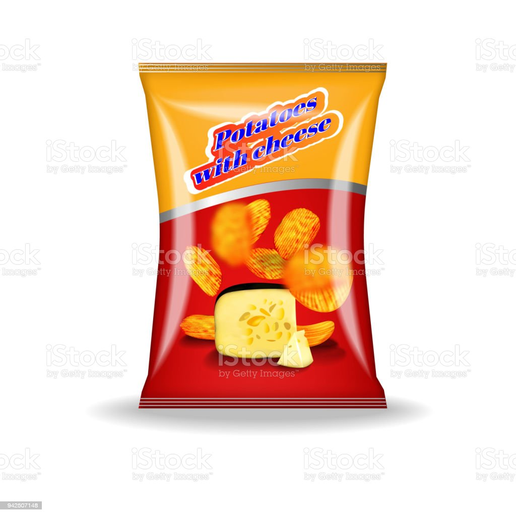 A pack of potato chips on white background with shadow. vector art illustration