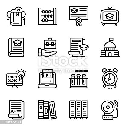 Pack of School Equipment Linear Icons