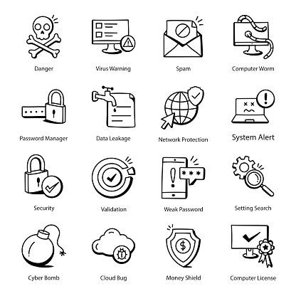 Pack of Security Threat Doodle Icons