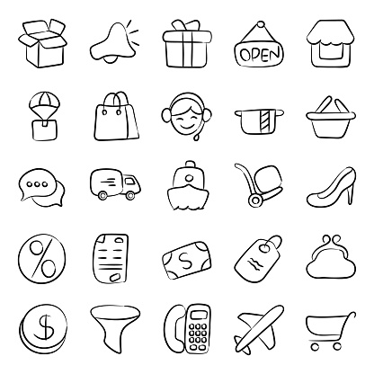 Pack of Shopping Doodle Icons