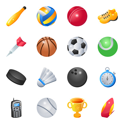 Pack of Sports and Games Flat Icons