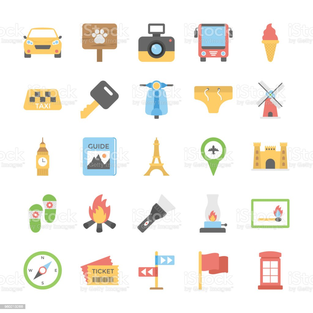 Pack Of Travelling and Holiday Flat Vector Set vector art illustration