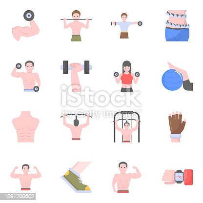 istock Pack of Workout Equipments Flat Icons 1291200502