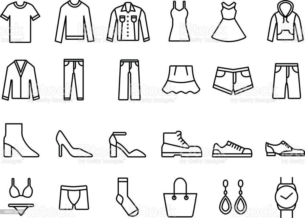 Pack with cloth icons vector art illustration